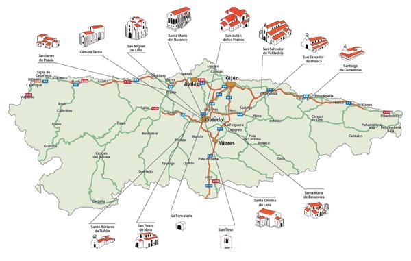 mapa monumentos prerromanicos asturias