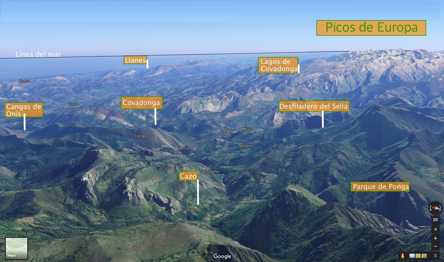 situacion de Cazo en los Picos de Europa